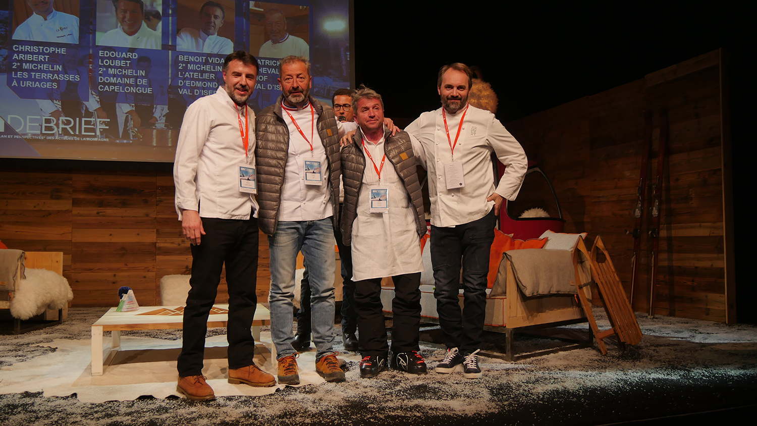 "Table-ronde ""Le ski épicurien"" avec l'intervention de 4 chefs : Benoît Vidal, Patrick Chevallot, Edouard Loubet, Christophe Arribert"